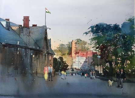 Cityscape Watercolor Art Painting title 'Walking On The Street' by artist Bijay Biswaal
