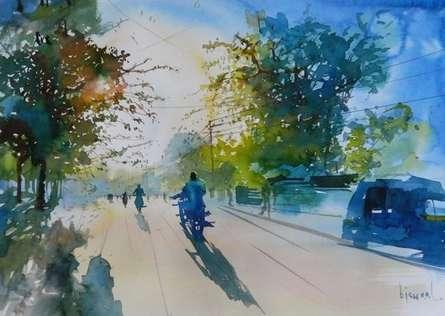 Cityscape Watercolor Art Painting title 'Against The Sun' by artist Bijay Biswaal