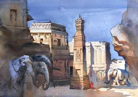 Bijay Biswaal | Watercolor Painting title Ajanta Ellora 1 on Paper | Artist Bijay Biswaal Gallery | ArtZolo.com