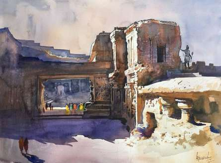 Place Watercolor Art Painting title Ajanta Ellora 2 by artist Bijay Biswaal