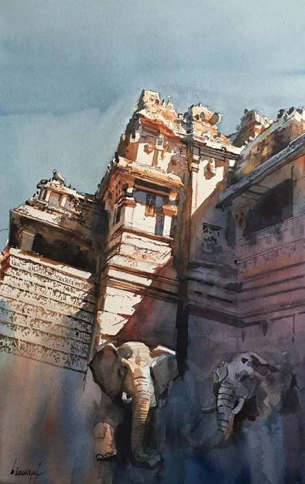 Cityscape Watercolor Art Painting title 'Ajanta Ellora' by artist Bijay Biswaal