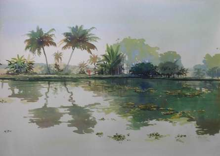 Bijay Biswaal | Watercolor Painting title Backwaters on Paper | Artist Bijay Biswaal Gallery | ArtZolo.com