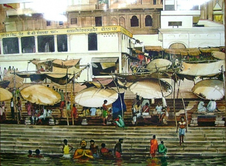 Cityscape Acrylic Art Painting title Banaras Ghat by artist Bijay Biswaal