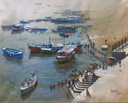 Cityscape Acrylic Art Painting title Banaras Ghat 1 by artist Bijay Biswaal