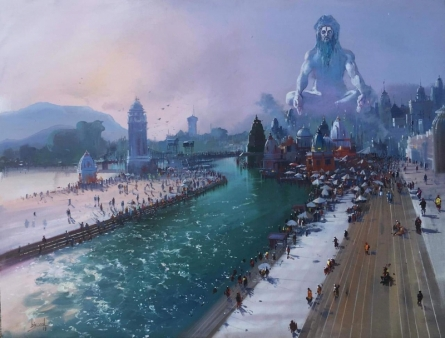 Religious Acrylic Art Painting title Banaras Ghat 2 by artist Bijay Biswaal