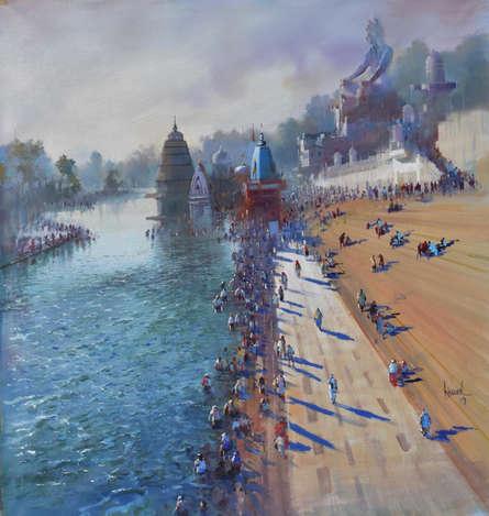 Bijay Biswaal | Acrylic Painting title Banaras (Varanasi) Ghat on Canvas | Artist Bijay Biswaal Gallery | ArtZolo.com