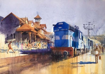 Fantasy Watercolor Art Painting title 'Bandra Special' by artist Bijay Biswaal