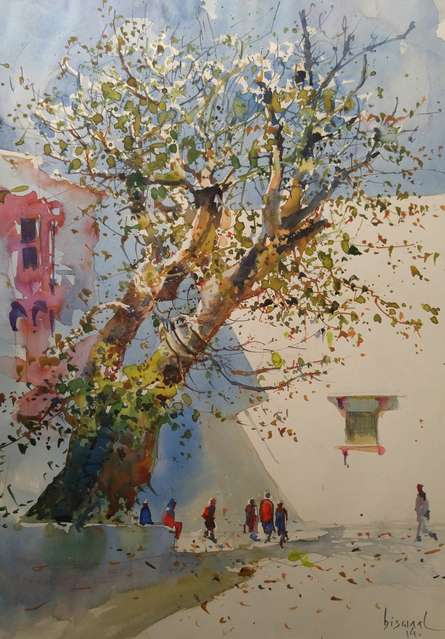 Bijay Biswaal Paintings | Watercolor Painting title Banyan Tree by artist Bijay Biswaal | ArtZolo.com