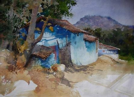 Blue Houe In Diongergarh | Painting by artist Bijay Biswaal | watercolor | Handmade Paper