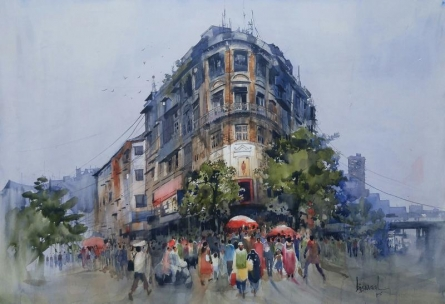 Cityscape Watercolor Art Painting title Bombay Village III by artist Bijay Biswaal