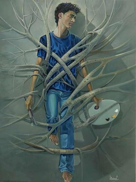 Bijay Biswaal | Oil Painting title Caged Freedom on Canvas | Artist Bijay Biswaal Gallery | ArtZolo.com