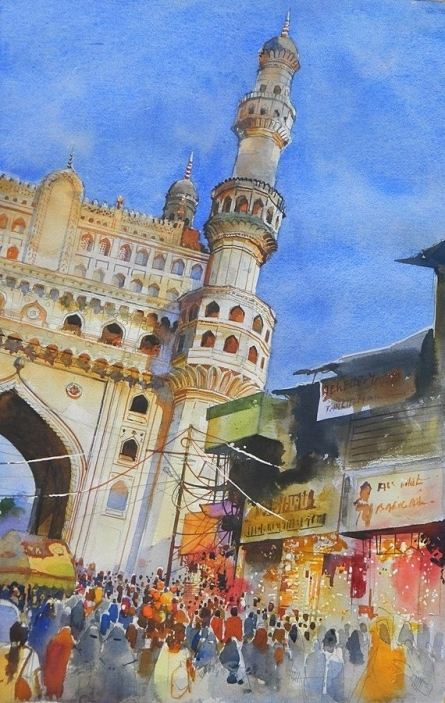 Bijay Biswaal | Watercolor Painting title Charminar on Arches Paper | Artist Bijay Biswaal Gallery | ArtZolo.com