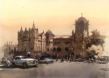 Cityscape Watercolor Art Painting title Cityscape 1 by artist Bijay Biswaal