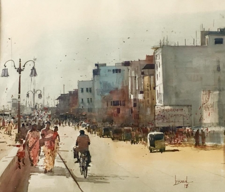 Cityscape Acrylic Art Painting title Cityscape 1 by artist Bijay Biswaal