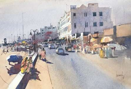 Cityscape Watercolor Art Painting title 'Cityscape 3' by artist Bijay Biswaal