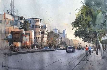 Cityscape Watercolor Art Painting title 'Cityscape 5' by artist Bijay Biswaal