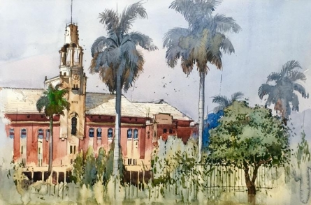 Cityscape Watercolor Art Painting title 'Cityscape 6' by artist Bijay Biswaal
