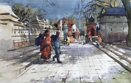 Cityscape Watercolor Art Painting title Cityscape 7 by artist Bijay Biswaal