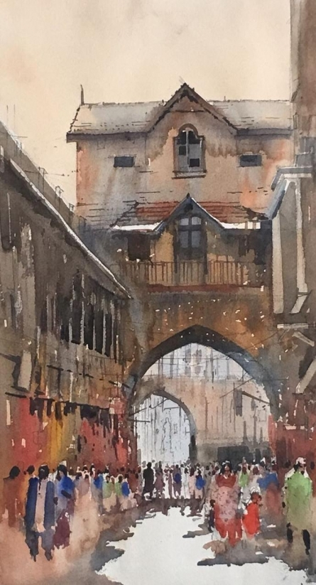 Cityscape Watercolor Art Painting title 'Cityscape 8' by artist Bijay Biswaal
