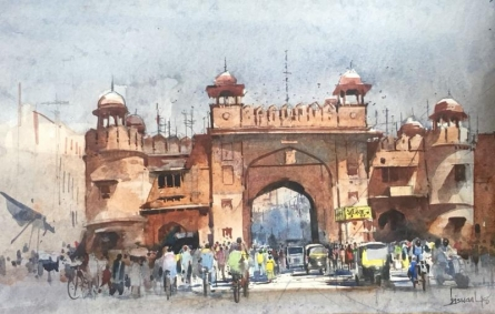 Cityscape Watercolor Art Painting title 'Cityscape 9' by artist Bijay Biswaal