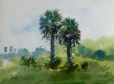 Nature Watercolor Art Painting title Coconut Trees by artist Bijay Biswaal
