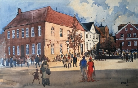 Place Watercolor Art Painting title 'Denmark Diary' by artist Bijay Biswaal