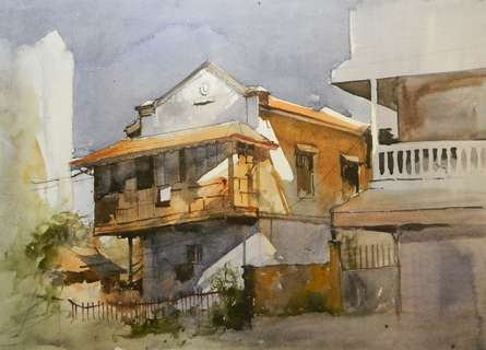 House at Dhantoli | Painting by artist Bijay Biswaal | watercolor | Paper