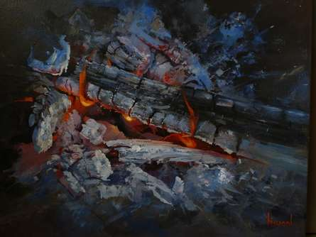 Cityscape Acrylic Art Painting title 'Fire' by artist Bijay Biswaal