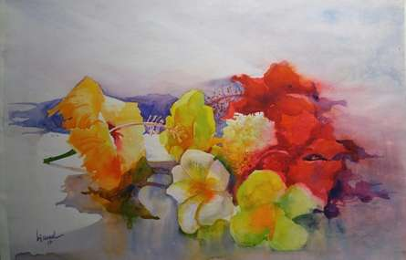 Photorealistic Watercolor Art Painting title 'Flower On My Canvas' by artist Bijay Biswaal