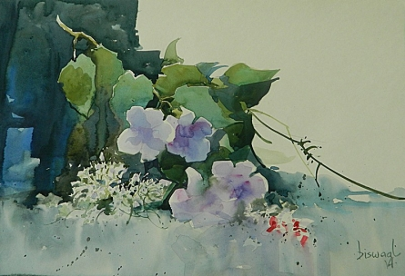 Nature Watercolor Art Painting title Flowers by artist Bijay Biswaal