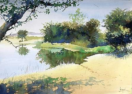 Nature Watercolor Art Painting title 'Gorewada' by artist Bijay Biswaal