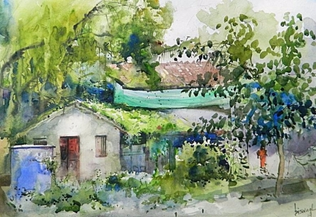 Green House | Painting by artist Bijay Biswaal | watercolor | Paper