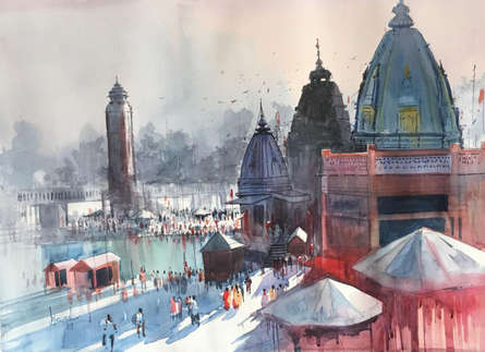 Bijay Biswaal | Watercolor Painting title Haridwar on Paper