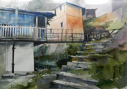 Bijay Biswaal | Watercolor Painting title Hilly Cottage on Paper | Artist Bijay Biswaal Gallery | ArtZolo.com