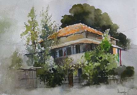 Bijay Biswaal | Watercolor Painting title House At Dhantoli on Handmade Paper | Artist Bijay Biswaal Gallery | ArtZolo.com