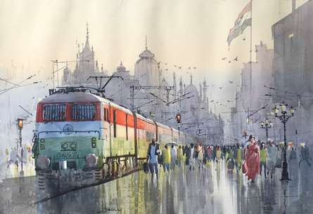 Cityscape Watercolor Art Painting title 'Indian Express' by artist Bijay Biswaal