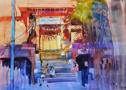 Cityscape Watercolor Art Painting title 'Jaipur' by artist Bijay Biswaal