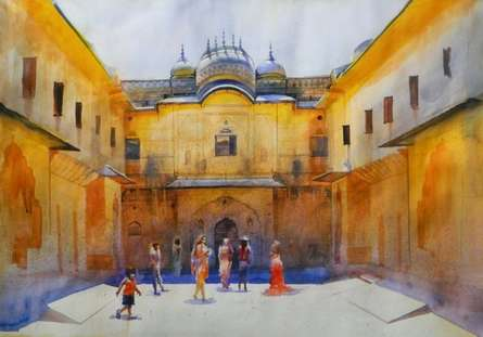 Cityscape Watercolor Art Painting title 'Jaipur Palace' by artist Bijay Biswaal