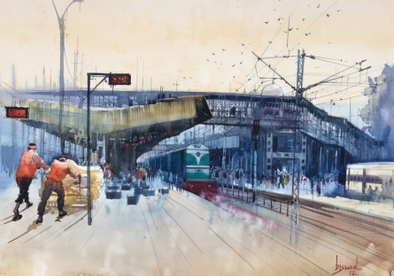 Place Watercolor Art Painting title 'Kanpur Central Labour Day 1' by artist Bijay Biswaal