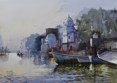 Bijay Biswaal | Watercolor Painting title Kanpur Ghat on Canson Paper | Artist Bijay Biswaal Gallery | ArtZolo.com