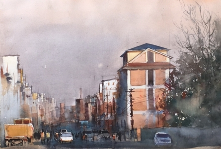 Cityscape Watercolor Art Painting title 'Kathmandu Brown' by artist Bijay Biswaal