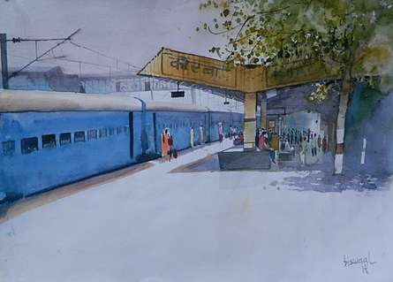 Cityscape Watercolor Art Painting title 'Korba Platform' by artist Bijay Biswaal