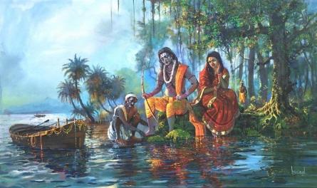 Religious Acrylic Art Painting title Vanvas (Ram Sita) by artist Bijay Biswaal