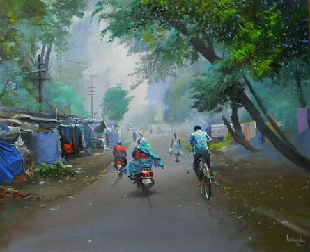 Cityscape Acrylic Art Painting title 'Misty Morning' by artist Bijay Biswaal