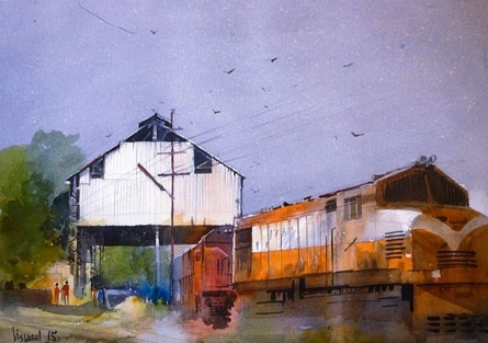 Cityscape Watercolor Art Painting title 'Motibagh' by artist Bijay Biswaal