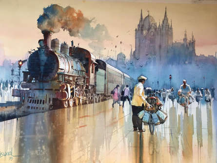Bijay Biswaal | Watercolor Painting title Mumbai Dabbawala 1 on Paper | Artist Bijay Biswaal Gallery | ArtZolo.com