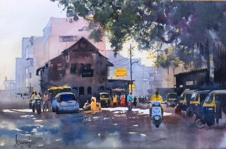 Cityscape Watercolor Art Painting title 'Nagpur Orange' by artist Bijay Biswaal
