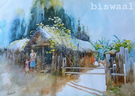 Odhisa Village | Painting by artist Bijay Biswaal | watercolor | Handmade Paper