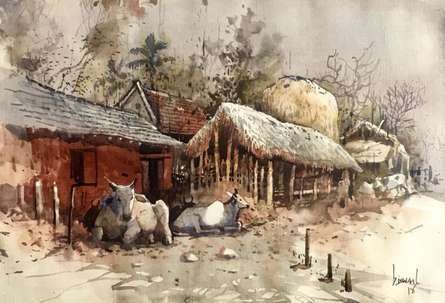 Cityscape Watercolor Art Painting title 'Odhisa Village 21' by artist Bijay Biswaal