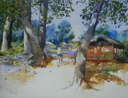 Odisha Village | Painting by artist Bijay Biswaal | watercolor | Paper